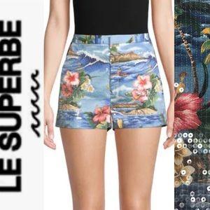 LE SUPERBE Sequin Embellished Ocean Park Shorts 2
